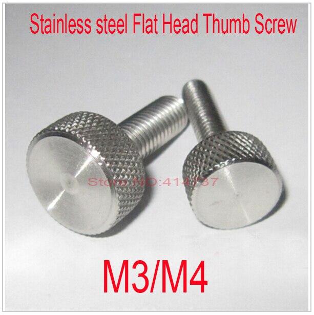 20 Pcs/Lot M3/M4 Stainless steel Flat Head Thumb Screw Round Head Knurling Hand Twist Screw/Hand Tighten Screws Length 5--45mm 20pcs m3 6 m3 x 6mm aluminum anodized hex socket button head screw