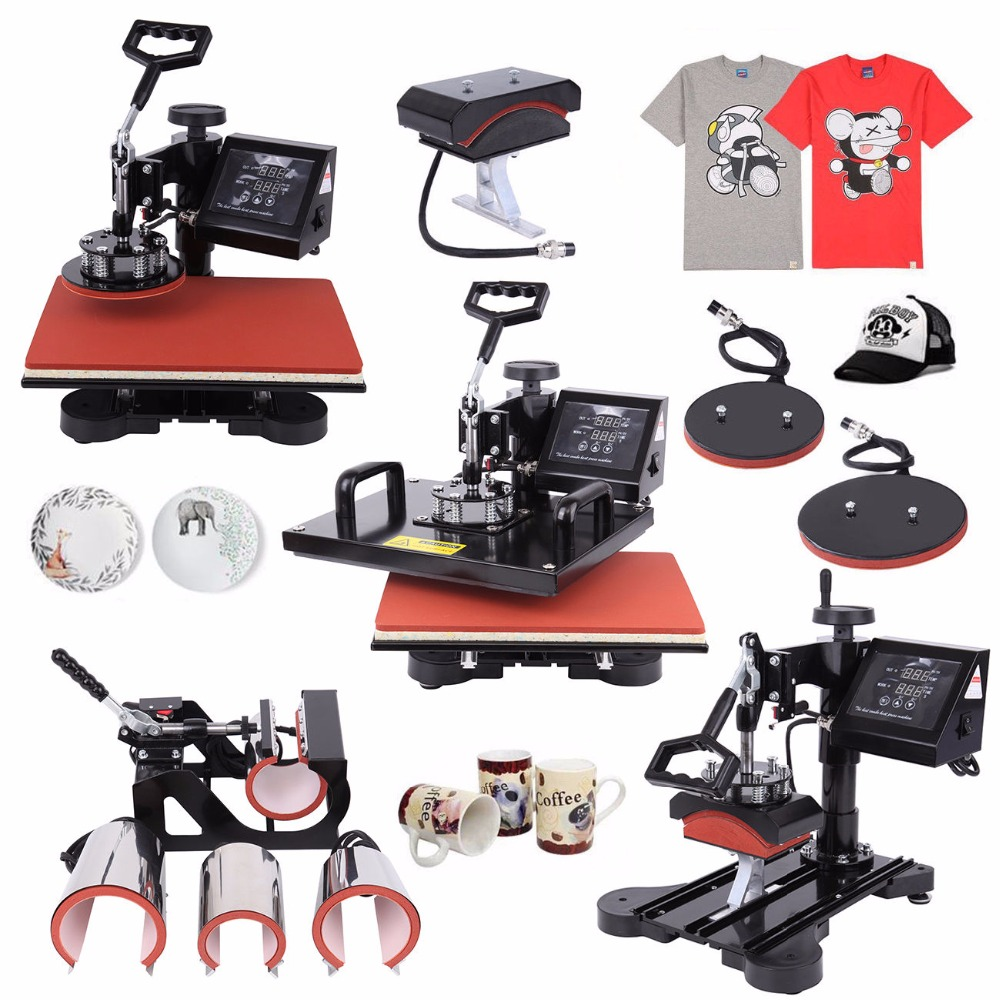 (Ship from US) 8 in 1 Digital Multifunction Heat Press Machine Transfer Sublimation T-Shirt Mug Hat Plate Cap Mouse Pad 15x12 1pc 6in1 30 38cm t shirt swing away heat press machine shaking head heat transfer sublimation machine