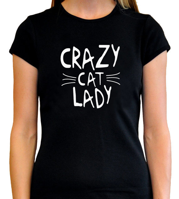Crazy cat lady girls t shirt fashion design short sleeve for Crazy t shirt designs