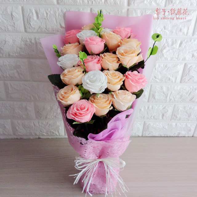 Diy crepe paper rose 21 home decoration bouquet material package diy crepe paper rose 21 home decoration bouquet material package party valentines day gift mightylinksfo
