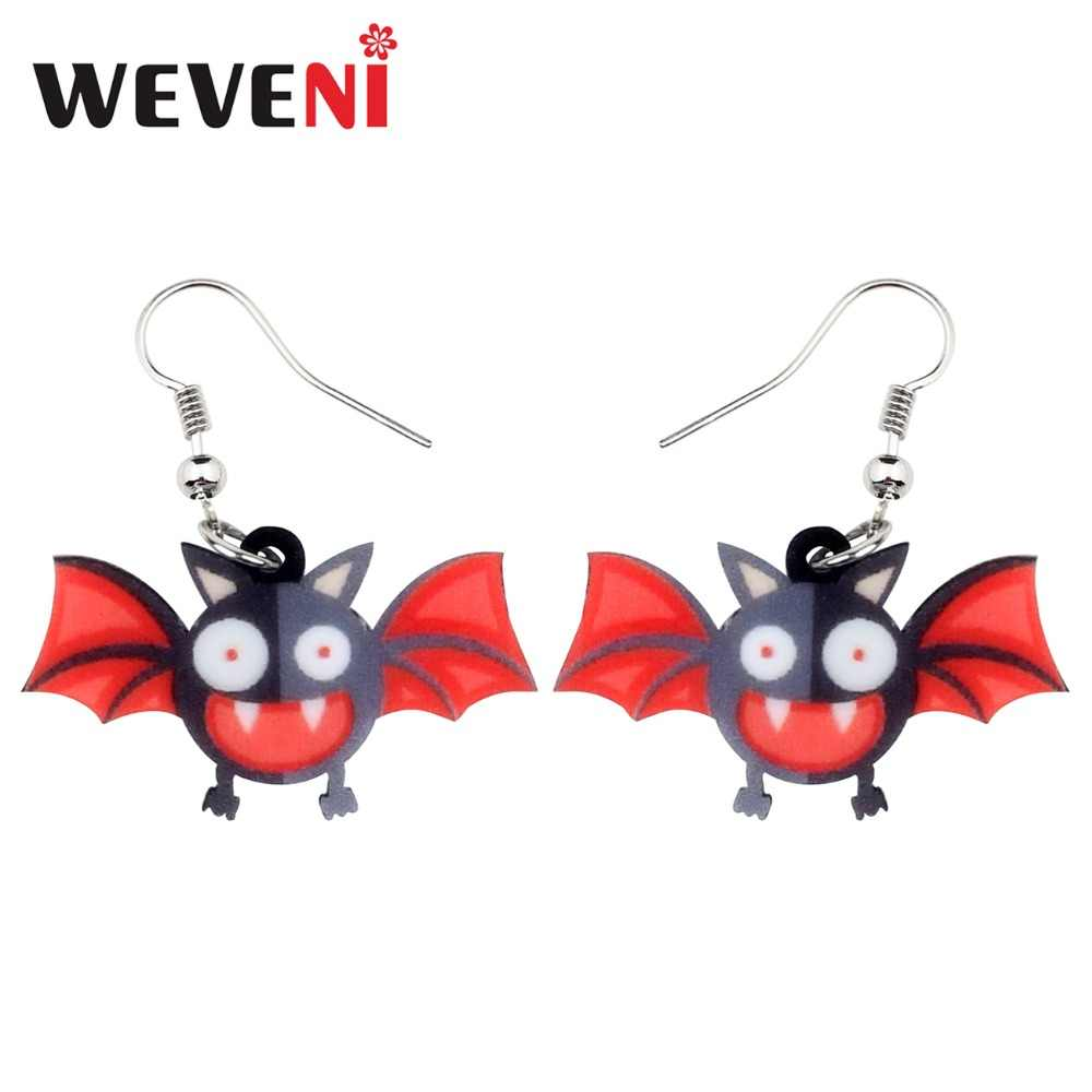 WEVENI Accessory Acrylic Halloween Crazy Bat Earrings Drop Dangle New Long Trendy Animal Jewelry For Women Girls Female Dropship