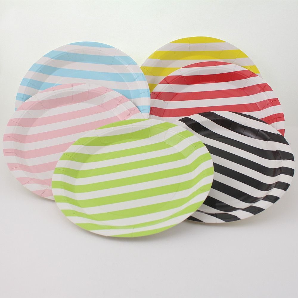 striped paper plates Serve your guests in style on these black stripe dinner plates these 9 plates are ideal for halloween parties and birthday parties.