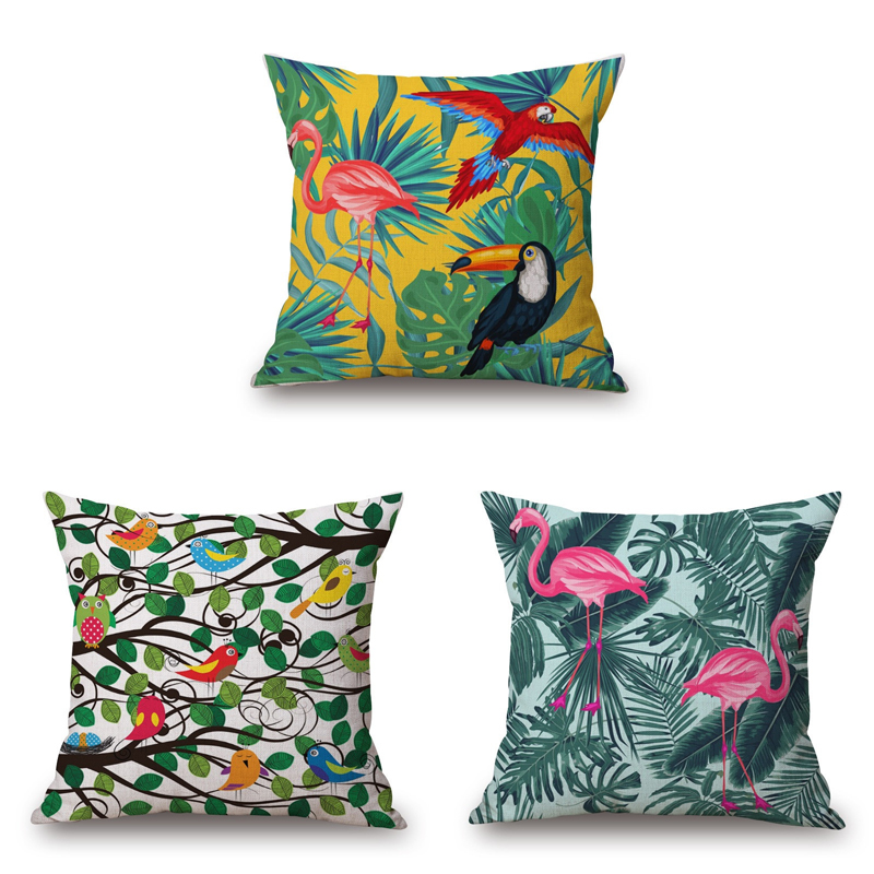 Flower Flamingo Series Cushion Cover Printed Square Parrot Bird Linen Sofa Animal Home Decorative Throw Pillow Cover cojines