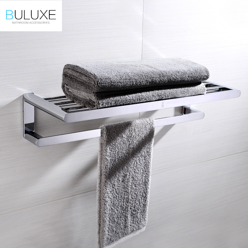 BULUXE Luxury Solid Brass Towel Holder Rack Hanger With Bar For Bathroom Shelf Wall Mounted Double Tier Bath Accessories HP7743 okaros bathroom double towel bar 60cm towel rack towel holder solid brass golden chrome plating bathroom accessories