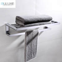 BULUXE Luxury Solid Brass Towel Holder Rack Hanger With Bar For Bathroom Shelf Wall Mounted Double Tier Bath Accessories HP7743