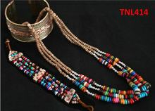 TNL414 Tibetan colorful Rainbow Yak Bone jewelry sets,Beaded Necklace and bracelets(China)