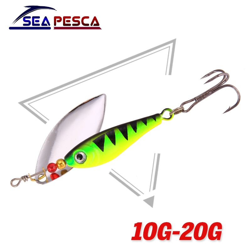 SEAPESCA Spinner Bait Fishing Lure Bait 11g 15g 20g Bass Baits Fishing Hooks Isca Artificial Metal Spoon Fishing Wobblers JK208 10pcs box metal spoon fishing lure hooks spinner baits sequins hard artificial jigging lure kits isca fishing tackle accessories