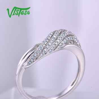 VISTOSO Genuine 14K 585 White Gold Sparkling Fancy Diamond Ring For Women Luxury Engagement Anniversary Trendy Lady Fine Jewelry