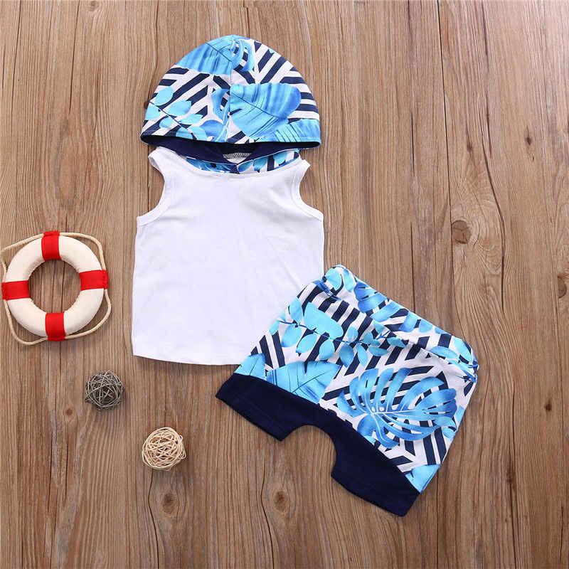 Criança infantil crianças roupas do bebê menino colete com capuz t camisa topos shorts calças de treino 2 pcs roupas