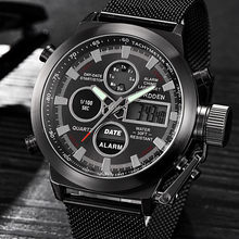 Men's Watch Wrist Dual Time LED Digital Analog Quartz Movt Steel Band relogio masculino montre homme 2019 luxe de marque(China)