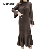 Women 2017 Fall Winter Velvet Long Dresses Ladies Fashion Plus size Wrinkle Pleated Flare Sleeve Casual Party Trumpet Mermaid