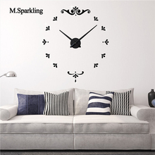M.Sparkling large wall clock home decoration creative small flowers design clocks DIY digital bedroom best gifts