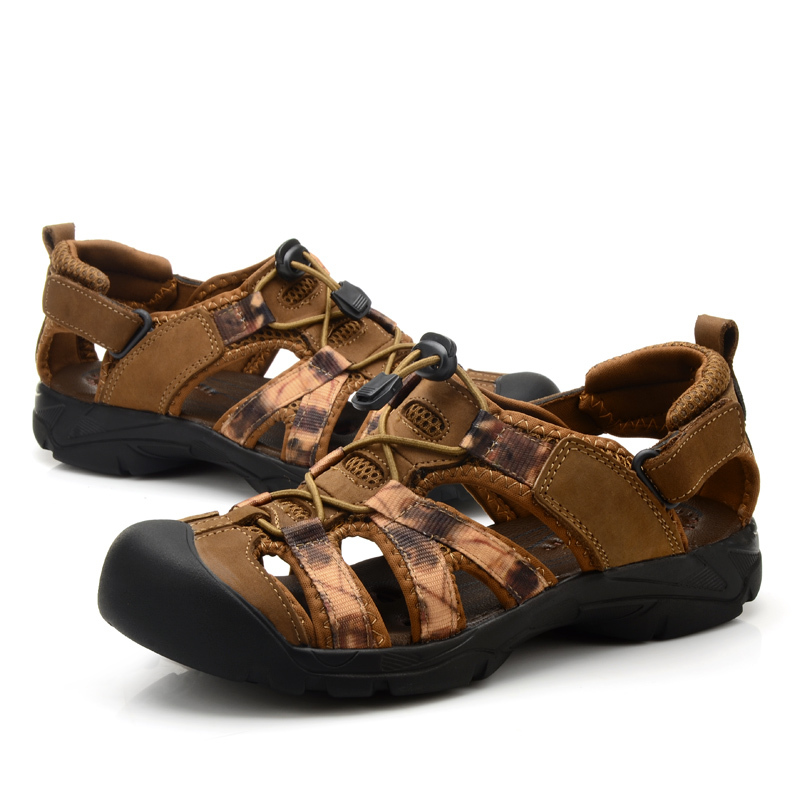 Mens Leather Sandals Summer Outdoor Shoes New 2016 Waterproof Sport Sandals  Shoes Closed Toe Casual Mens Shoes Beach Sandals In Menu0027s Sandals From Shoes  On ...
