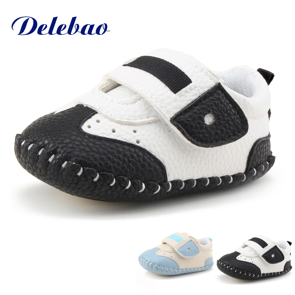 Delebao Infant Toddler Baby Shoes Unique Pu Leather Soft Sole Newborn Hook & Loop Baby Boy & Girl First Walkers Shoes