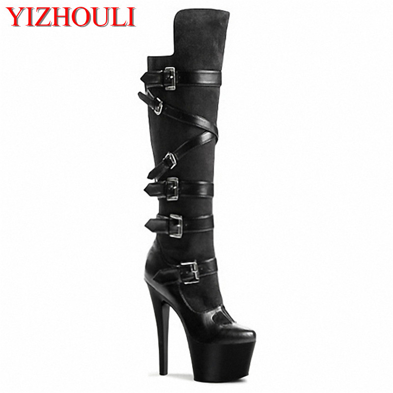 2018 sexy clubbing high heels women motorcycle boots 17 15cm high heels boots black knee high