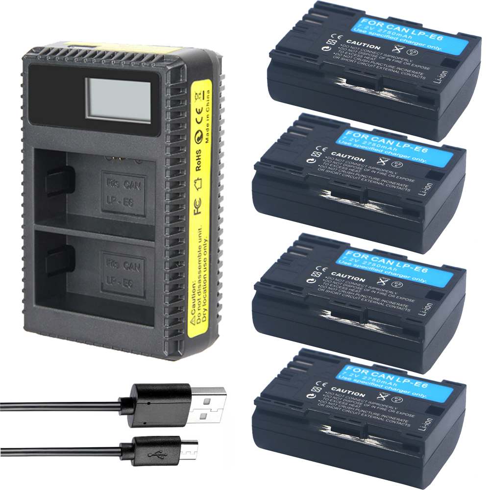 4x LP-E6 Batteries LP E6 +LP-E6N LCD Camera Charger For Canon EOS 5DSR 5D Mark II 5D Mark III 6D 7D 60D 60Da 70D DSLR EOS 5DS