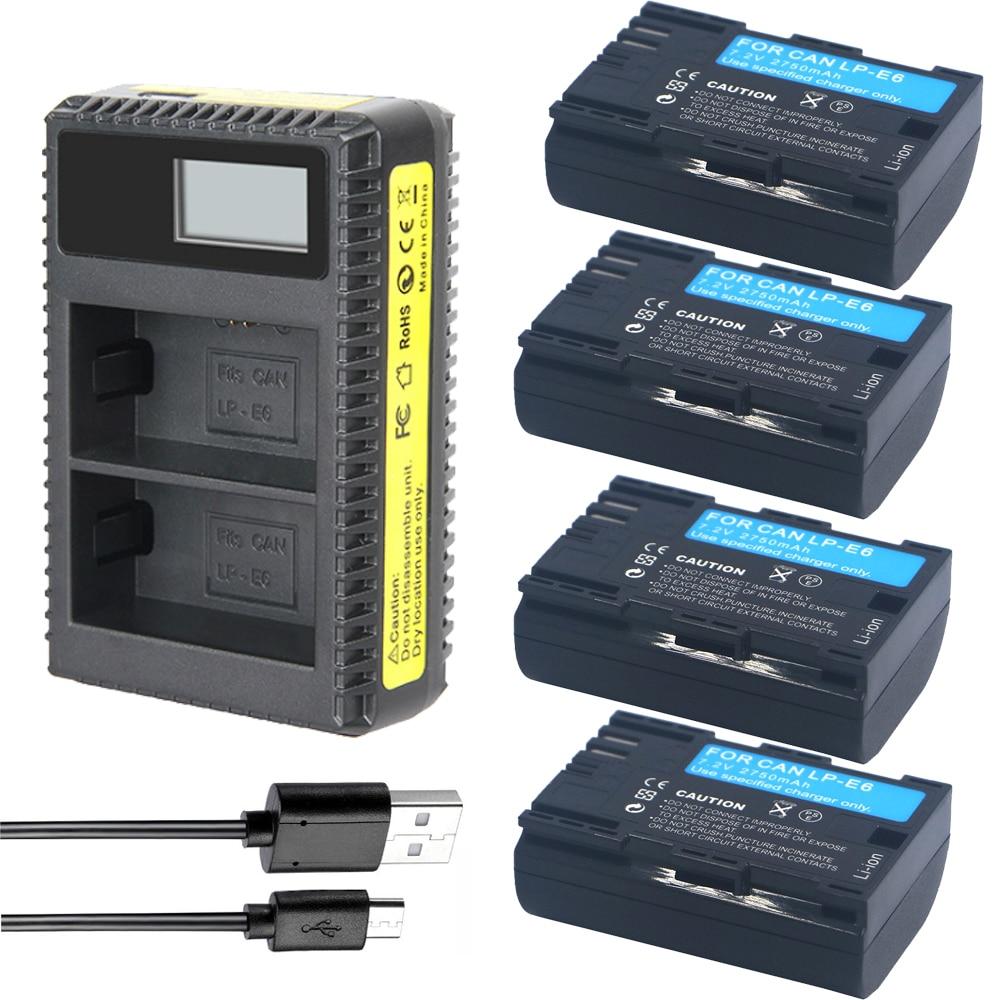 4x Batteries LP-E6 LP E6 + LP-E6N LCD Caméra Chargeur Pour Canon EOS 5DSR 5D Mark II 5D Mark III 6D 7D 60D 60Da 70D DSLR EOS 5D