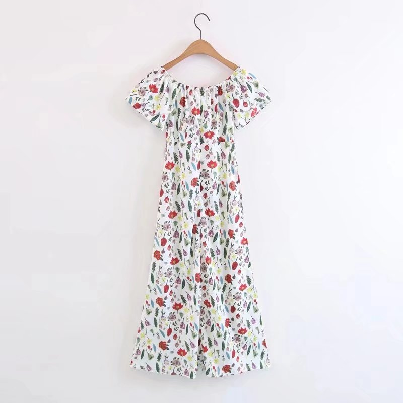 2018 fashion new word collar lotus leaf floral dress