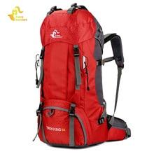 नि: शुल्क नाइट 60 एल कैम्पिंग लंबी पैदल यात्रा बैकपैक 6 रंग आउटडोर बैग बैकपैक्स नायलॉन खेल थैला चढ़ाई चढ़ाई के लिए यात्रा कवर के साथ यात्रा