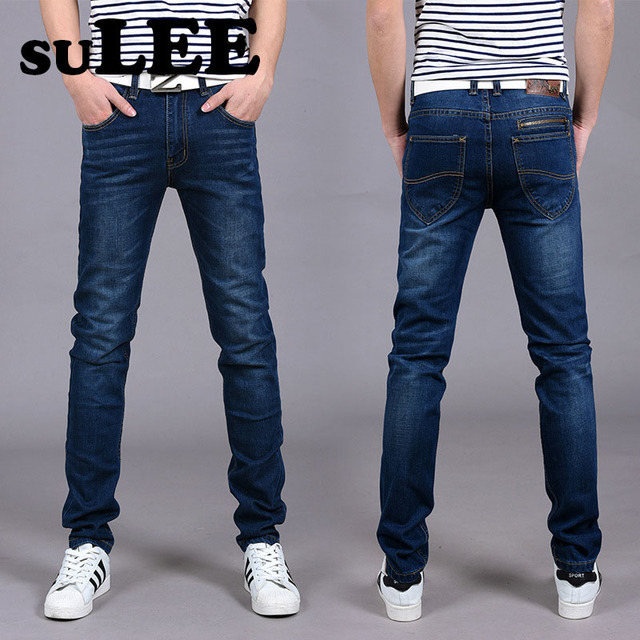Autumn 2016 Mens Casual Fitness Business Jeans Pants Men Straight Skinny Cotton Denim Jeans Sulee 0716 Jean Hombre Size 38 40