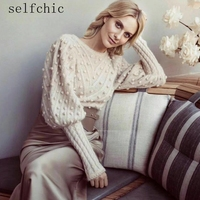 Designer Female Cropped Sweaters 2018 Autumn Women Long Sleeve Wool Knitted Blouses Pull Femme