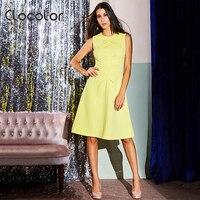 Clocolor Women Autumn Winter Basic Dress Sleeveless Waisted Pretty Plus Size Plain Yellow Zipper A Line