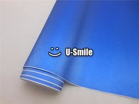 BEST Quality BLUE BRUSHED ALUMINUM Vinyl Wrap Sticker Decal Sheet Film Air Release Size 1 52X30M