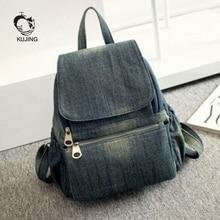 Kujing рюкзак высокое качество Ковбой женщина Повседневное рюкзак Горячий большой Ёмкость студент мешок женские роскошные путешествия дешевые рюкзак