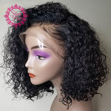 Short Curly Bob Lace Front Human Hair Wigs For Women Natural Black Lace Wig Remy Brazilian Plucked With Baby Hair Bleached Slove(China)