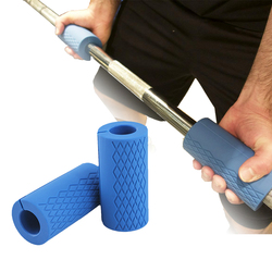 1 Pair Barbell Dumbbell Grips Thick Bar Handles Silicone Anti-slip Protect Pad Pull Up Weightlifting Grip Support