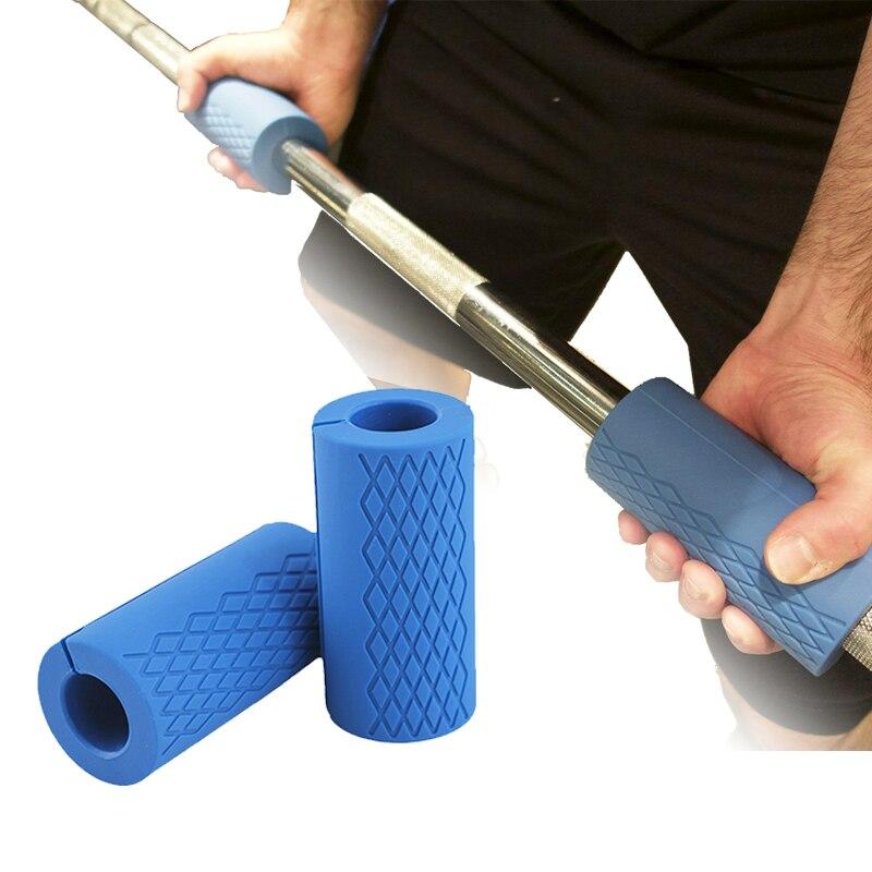 1 Paire Barbell Poignées D'haltère Épais Bar Poignées Silicone Anti-glissement Protéger Pad Pull Up Haltérophilie Graisse Grip Support