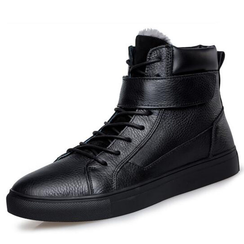 Winter Hot Sale Men High Help Genuine Leather Shoes,Cotton Fabric Keep Warm Non-slip Breathable Wear-resisting Leather Shoes