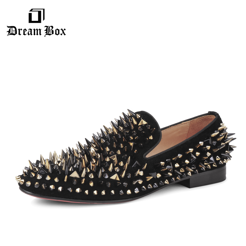 New arrival, Dreambox cow suede shoes, gold and black rivets, fashionable parties and banquets, men's shoes, European style smok new arrival dreambox cow suede shoes gold and black rivets fashionable parties and banquets men s shoes european style smok