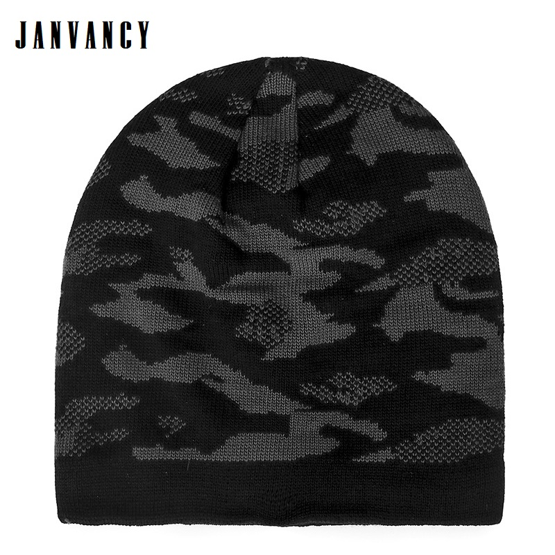 Men's Winter Cool Camouflage Knitted Beanies Furry Plush Inside Warm Ice Cap Ear Protection Ski Biking Sports Hat Snow Headgear