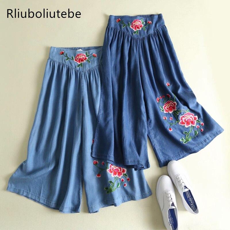 tecel denim   wide     leg     pants   embroidery blue Jeans loose palazzo   pants   elastic waist casual summer pleated   wide     leg     pants   floral