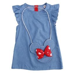 Crianças bebê menina vestido minnie mouse saco + demin voar mangas vestido vestido de festa vestido sem mangas roupas
