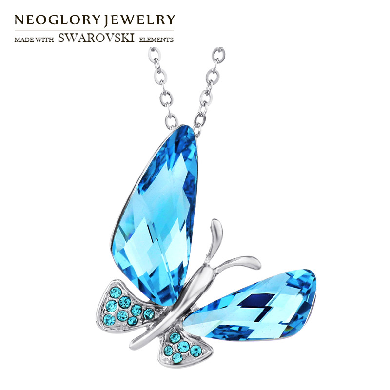 Austria Crystal & Auden Rhinestone Elegant Butterfly Style Long Pendant Charm Necklace Summer Classic Trendy Lady Girl