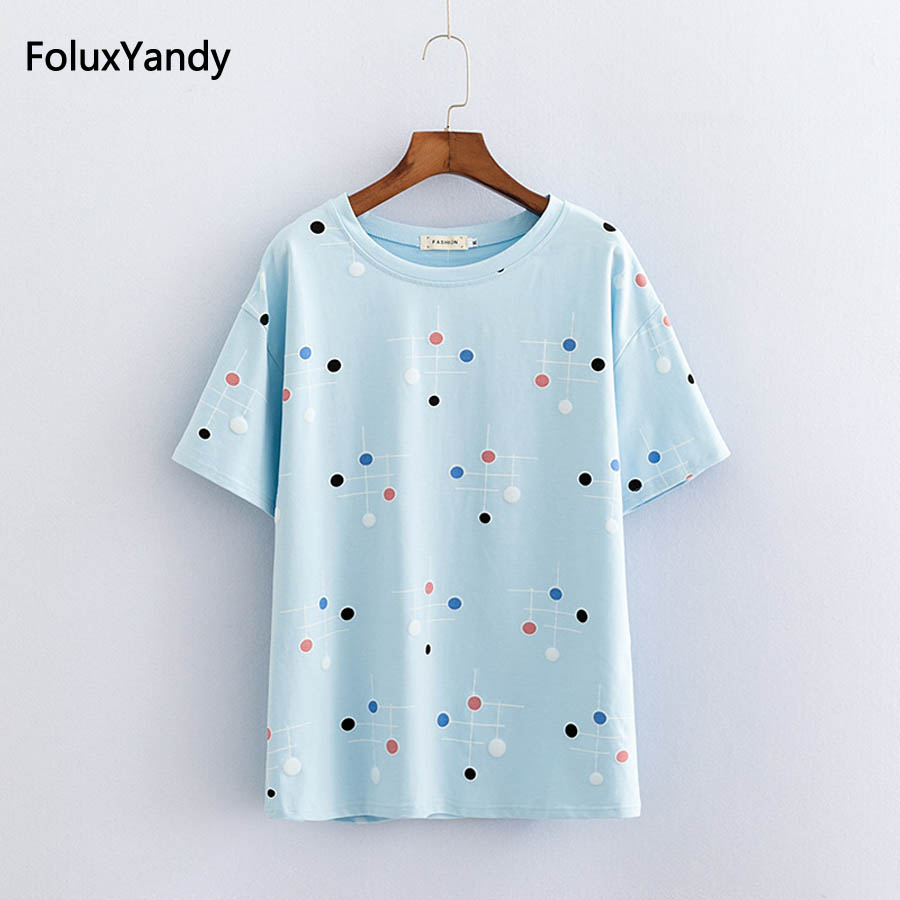 <font><b>Polka</b></font> <font><b>Dot</b></font> Tops Plus Size Women O-neck Short Sleeve Summer Casual T-<font><b>shirts</b></font> Sky <font><b>Blue</b></font> Khaki White KKFY2169 image