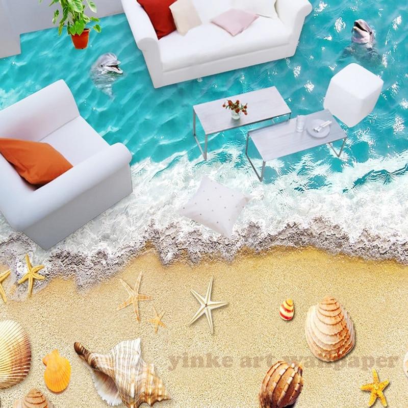 custom any size 3d sandbeach expoxy floor vinyl for room floor home decor