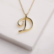 Cursive English letter D name Sign fashion lucky Monogram pendant necklace alphabet Initial mother friend family gift jewelry