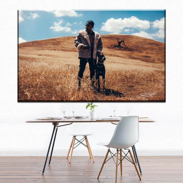 3284586d0bfe ZZ1723 Travis Scott American Hip Hop Music Rapper Star Custom Art Print  Poster Canvas Painting Wall Picture Home Decor paintings