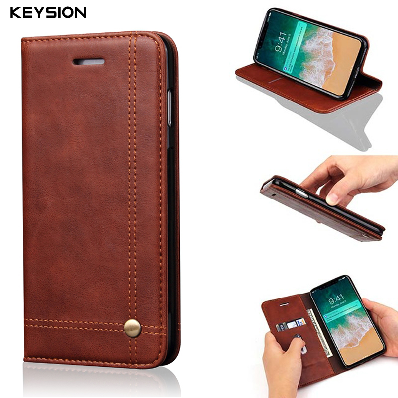 KEYSION Case for iPhone X Retro High Quality PU Leather Case Inside TPU Magnetic Flip case Mobile Phone back cover for iPhone 10