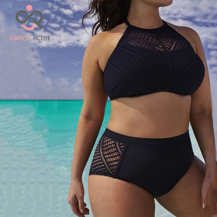 Plus Size Sexy Black Bikini Women hollow high waist Brazilian Bikini Set bathing suits Beachwear 5XL 6XL 7XL  Y048