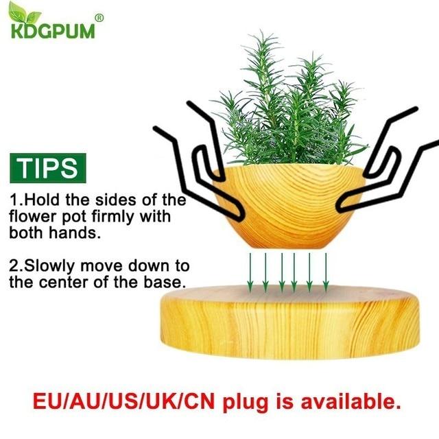 EU/US/AU Plug Levitating Air Bonsai Pot Magnetic Levitation Plants Planter Flower Pots Potted Succulent Plant Home Office Decor 3