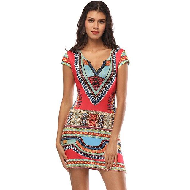 2018 Women Dress Ladies Short V-Neck Sexy African Dresses Traditional Print Mini Women Summer Boho Beach Dress