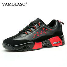 VAMOLASC New Men Sport Running Shoes Breathable PU Comfortable Outdoor Walking Shoes Cushioning Medium Cut Athletic Shoes