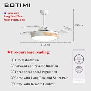 Image 5 - BOTIMI الحديثة للطي مروحة سقف s مع أضواء لغرفة المعيشة 42 بوصة مروحة سقف تعمل بالتحكم عن بعد مصباح غرفة نوم LED التهوية