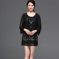 Big Size Mom Long Embroidery Sequin Blouse Shirt Casual Loose Flower Cord Autumn Women Tunic Top Plus Size Clothing