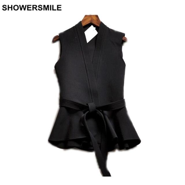 Жилет Женщины Черный Оборками Жилет Европейский Стиль Рукавов Куртки Весна Дамы Верхняя Одежда Мода Новый Жилет Femme
