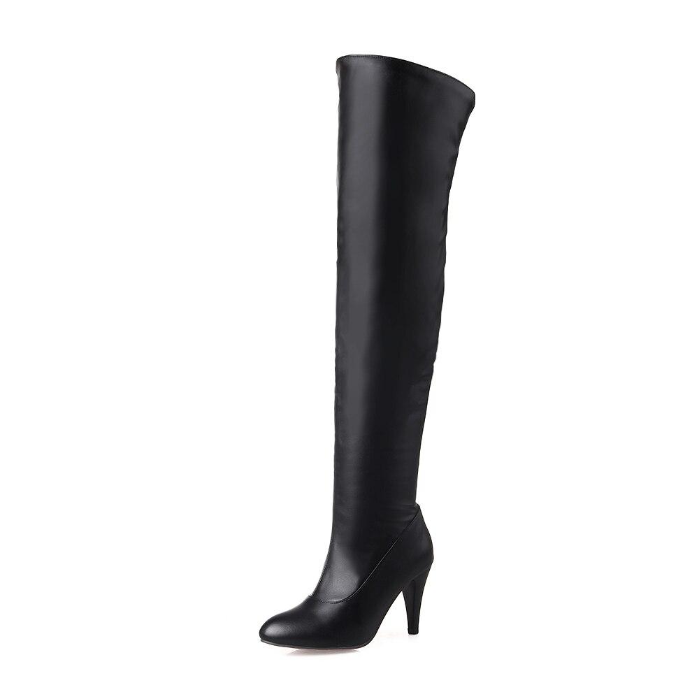 ФОТО Fashion Women Knee High Boots Nice Ponited Toe Thin Heels Boots Elegant Black White Beige Shoes Woman US Size 3.5-14